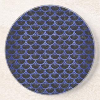 SCALES3 BLACK MARBLE & BLUE BRUSHED METAL COASTER