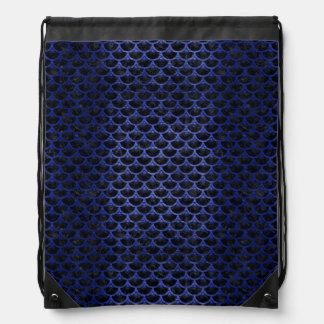 SCALES3 BLACK MARBLE & BLUE BRUSHED METAL DRAWSTRING BAG