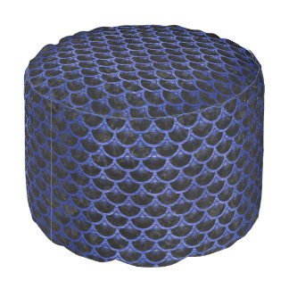SCALES3 BLACK MARBLE & BLUE BRUSHED METAL POUF