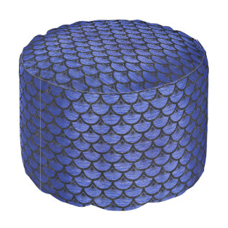 SCALES3 BLACK MARBLE & BLUE BRUSHED METAL (R) POUF