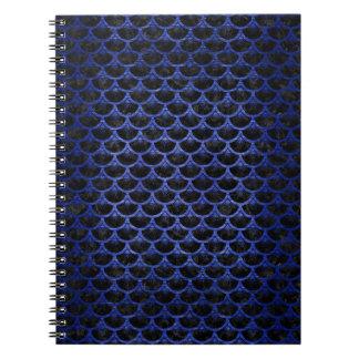 SCALES3 BLACK MARBLE & BLUE BRUSHED METAL SPIRAL NOTEBOOK