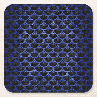 SCALES3 BLACK MARBLE & BLUE BRUSHED METAL SQUARE PAPER COASTER