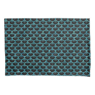 SCALES3 BLACK MARBLE & BLUE-GREEN WATER PILLOWCASE