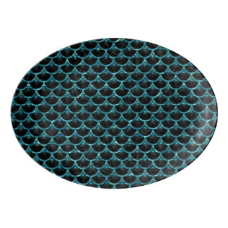 SCALES3 BLACK MARBLE & BLUE-GREEN WATER PORCELAIN SERVING PLATTER