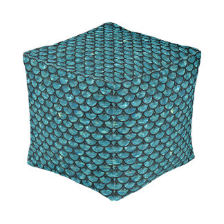 SCALES3 BLACK MARBLE & BLUE-GREEN WATER (R) POUF