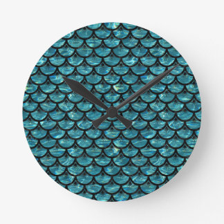 SCALES3 BLACK MARBLE & BLUE-GREEN WATER (R) ROUND CLOCK