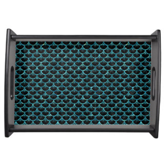 SCALES3 BLACK MARBLE & BLUE-GREEN WATER SERVING TRAY