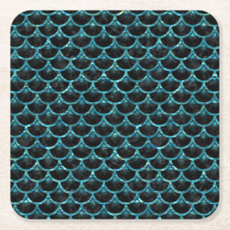 SCALES3 BLACK MARBLE & BLUE-GREEN WATER SQUARE PAPER COASTER