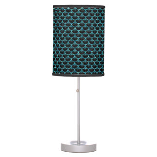 SCALES3 BLACK MARBLE & BLUE-GREEN WATER TABLE LAMP