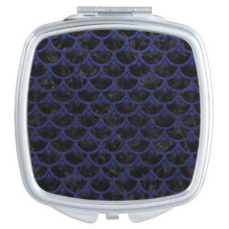 SCALES3 BLACK MARBLE & BLUE LEATHER COMPACT MIRROR