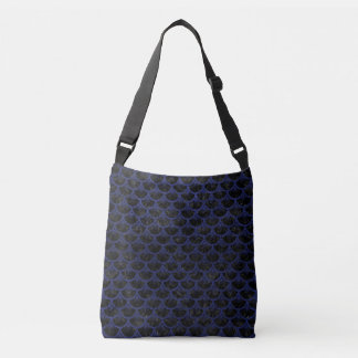 SCALES3 BLACK MARBLE & BLUE LEATHER CROSSBODY BAG