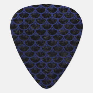 SCALES3 BLACK MARBLE & BLUE LEATHER GUITAR PICK