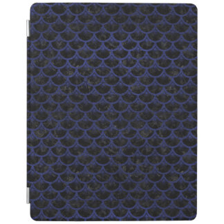 SCALES3 BLACK MARBLE & BLUE LEATHER iPad COVER