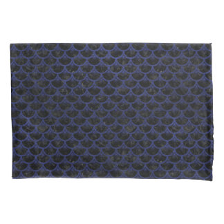 SCALES3 BLACK MARBLE & BLUE LEATHER PILLOWCASE