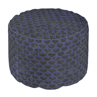 SCALES3 BLACK MARBLE & BLUE LEATHER POUF