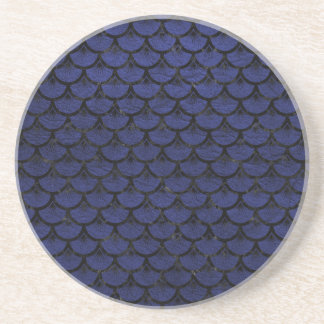 SCALES3 BLACK MARBLE & BLUE LEATHER (R) COASTER