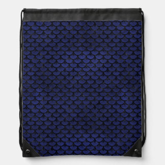 SCALES3 BLACK MARBLE & BLUE LEATHER (R) DRAWSTRING BAG