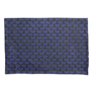 SCALES3 BLACK MARBLE & BLUE LEATHER (R) PILLOWCASE