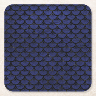 SCALES3 BLACK MARBLE & BLUE LEATHER (R) SQUARE PAPER COASTER