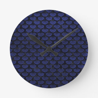 SCALES3 BLACK MARBLE & BLUE LEATHER (R) WALLCLOCKS