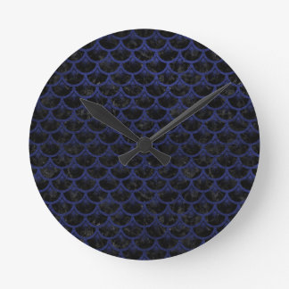 SCALES3 BLACK MARBLE & BLUE LEATHER ROUND CLOCK