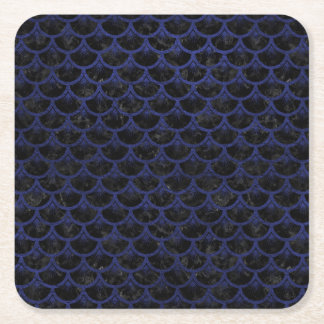 SCALES3 BLACK MARBLE & BLUE LEATHER SQUARE PAPER COASTER