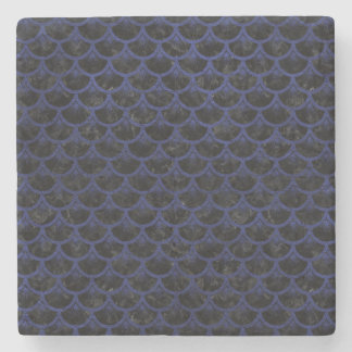 SCALES3 BLACK MARBLE & BLUE LEATHER STONE COASTER