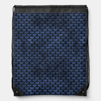 SCALES3 BLACK MARBLE & BLUE STONE (R) DRAWSTRING BAG