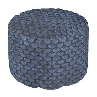 SCALES3 BLACK MARBLE & BLUE STONE (R) POUF