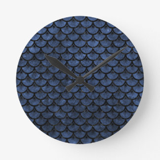SCALES3 BLACK MARBLE & BLUE STONE (R) ROUND CLOCK