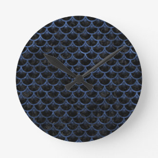 SCALES3 BLACK MARBLE & BLUE STONE ROUND CLOCK