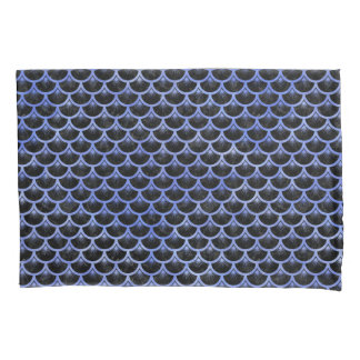 SCALES3 BLACK MARBLE & BLUE WATERCOLOR PILLOWCASE