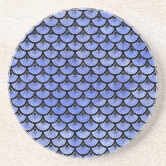SCALES3 BLACK MARBLE & BLUE WATERCOLOR (R) COASTER
