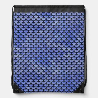 SCALES3 BLACK MARBLE & BLUE WATERCOLOR (R) DRAWSTRING BAG