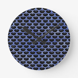 SCALES3 BLACK MARBLE & BLUE WATERCOLOR ROUND CLOCK