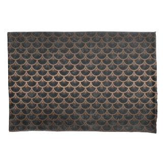 SCALES3 BLACK MARBLE & BRONZE METAL PILLOWCASE