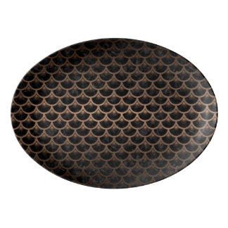 SCALES3 BLACK MARBLE & BRONZE METAL PORCELAIN SERVING PLATTER