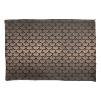 SCALES3 BLACK MARBLE & BRONZE METAL (R) PILLOWCASE
