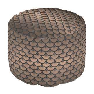 SCALES3 BLACK MARBLE & BRONZE METAL (R) POUF