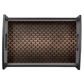 SCALES3 BLACK MARBLE & BRONZE METAL (R) SERVING TRAY