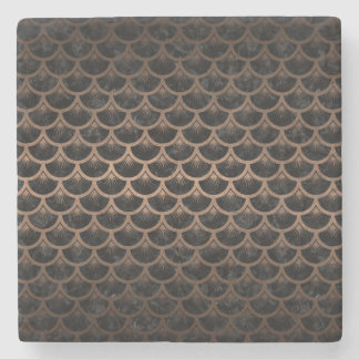 SCALES3 BLACK MARBLE & BRONZE METAL STONE COASTER