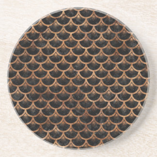 SCALES3 BLACK MARBLE & BROWN STONE COASTER