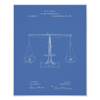 Scales of Justice 1885 Patent Art - Blueprint Poster