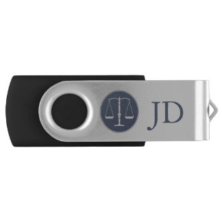 Scales of Justice and Initials USB Flash Drive