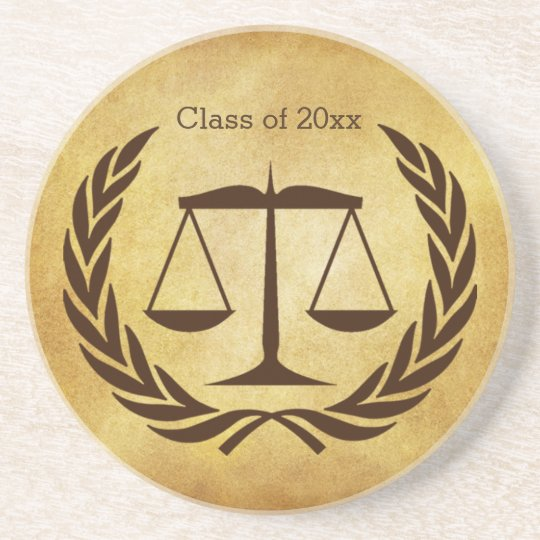 Scales of justice and laurel leaves coaster