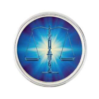Scales of Justice | Blue Supernova Light Lapel Pin