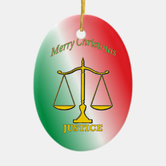 Scales Of Justice Ceramic Oval Ornament