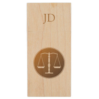Scales of Justice | Initials Wood USB Flash Drive