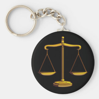 Scales of Justice   Law Basic Round Button Keychain