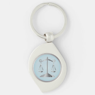 Scales of Justice   Law   Lawyer   Aqua Blue Silver-Colored Swirl Keychain